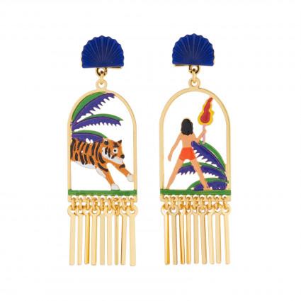 Boucles D'oreilles Boucles D'oreilles Pendantes Asymétriques Tige Mowgli Et Shere Khan