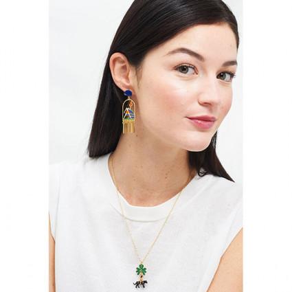 Bracelet petite anémone grise et perles en verre taillé