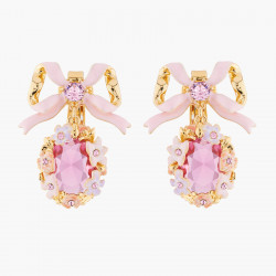 Boucles D'oreilles Clip Boucles D'oreilles Mariage Clips Ruban, Fleurs Et Cristal Rose