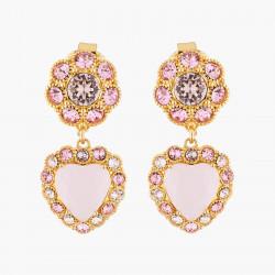 Boucles D'oreilles Clip Boucles D'oreilles Mariage Clips Pendantes Cœur Et Cristaux Roses