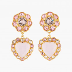 Boucles D'oreilles Pendantes Boucles D'oreilles Mariage Tiges Pendantes Cœur Et Cristaux Roses