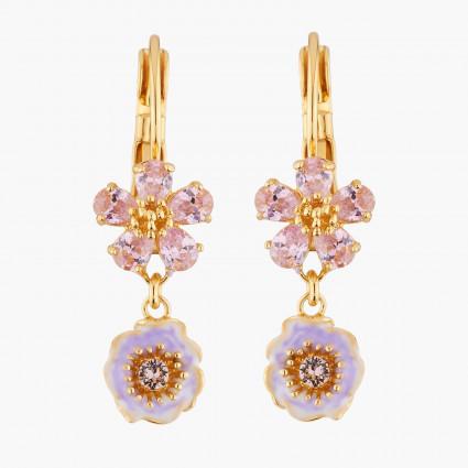 Boucles D'oreilles Dormeuses Dormeuses Mariage Deux Fleurs Roses Aux Pistils Dorés