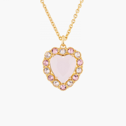 Colliers Pendentifs Collier Pendentif Mariage Cœur Rose Entouré De Cristaux Parme Et Rose