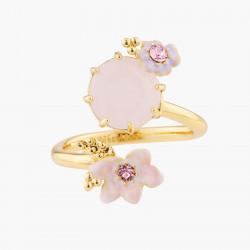 Bagues Ajustables Bague Ajustable Mariage Fleurs Roses Et Pierre Parme