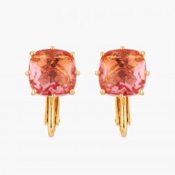 Boucles D'oreilles Clip Boucles D'oreilles Clip Pierre Carrée Rose Pêche La Diamantine Multicolore