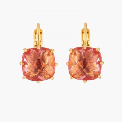 Boucles D'oreilles Dormeuses Boucles D'oreilles Dormeuses Pierre Carrée Rose Pêche La Diamantine Multicolore