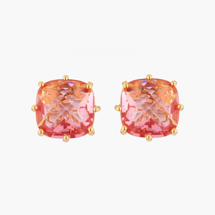 Boucles D'oreilles Tiges Boucles D'oreilles Tiges Pierre Carrée Rose Pêche La Diamantine Multicolore