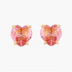 Boucles D'oreilles Tiges Boucles D'oreilles Tiges Pierre Cœur Rose Pêche La Diamantine Multicolore
