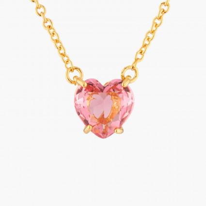 Colliers Pendentifs Collier Pendentif Pierre Cœur Rose Pêche La Diamantine Multicolore