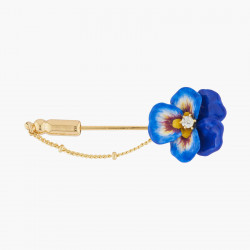 Blue Pansy Chain Brooch
