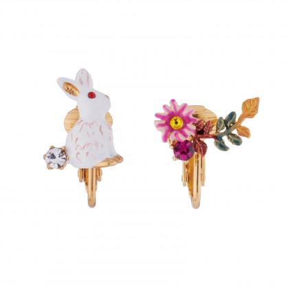 Boucles D'oreilles Clip Boucles D'oreilles Clip Asymétriques Lapin Et Fleur