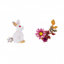 Boucles D'oreilles Tiges Boucles D'oreilles Tige Asymétriques Lapin Et Fleur