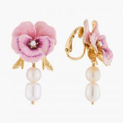 Boucles D'oreilles Clip Boucles D'oreilles Clips Pensée Rose Et Perles Baroques