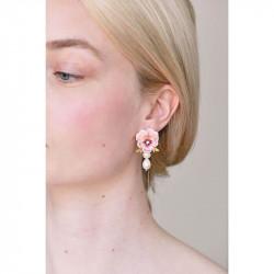Boucles D'oreilles Pendantes Boucles D'oreilles Tiges Pensée Rose Et Perles Baroques