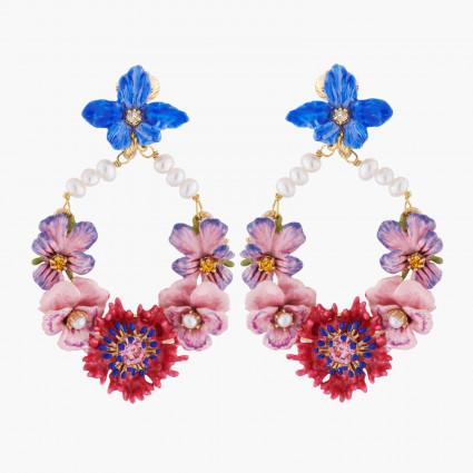 Boucles D'oreilles Clip Créoles Clips Fleurs D'hiver Et Perles Baroques260,00€ AKMP102C/1Les Néréides