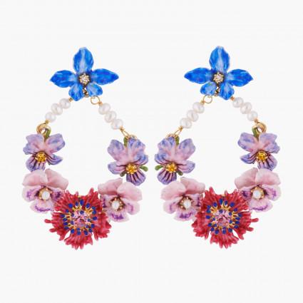 Boucles D'oreilles Creoles Créoles Tiges Fleurs D'hiver Et Perles Baroques260,00€ AKMP102T/1Les Néréides