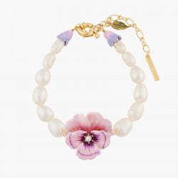 Bracelets Fins Bracelet Pensée Rose Et Perles Baroques