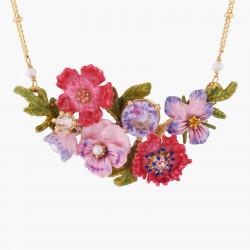 Colliers Fins Collier Pendentif Bouquet De Fleurs D'hiver Et Cristal Taillé