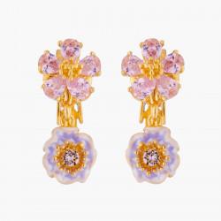 Boucles D'oreilles Clip Boucles D'oreilles Mariage Clips Deux Fleurs Roses Aux Pistils Dorés