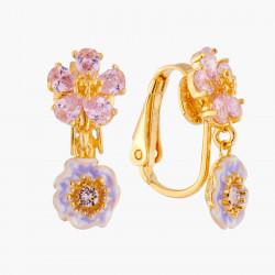 Boucles D'oreilles Clip Boucles D'oreilles Mariage Clips Deux Fleurs Roses Aux Pistils Dorés95,00€ AKJV106C/1Les Néréides