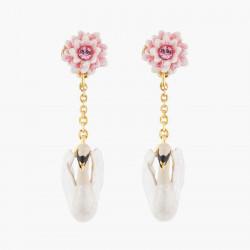 Boucles D'oreilles Pendantes Boucles D'oreilles Tiges Nénuphar Rose Et Cygne Blanc110,00€ AKCY102T/1Les Néréides