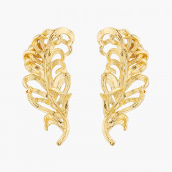 Golden Swan Feather Stud...