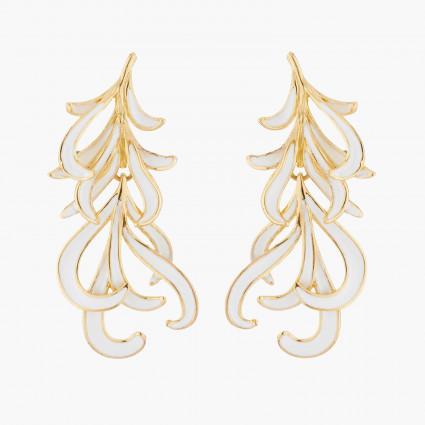 Boucles D'oreilles Pendantes Boucle D'oreille Tiges Plumes De Cygne Blanche Et Dorée