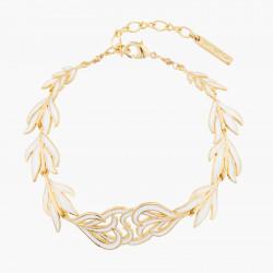 Bracelets Fins Bracelet Plumes De Cygne Doré Et Blanc