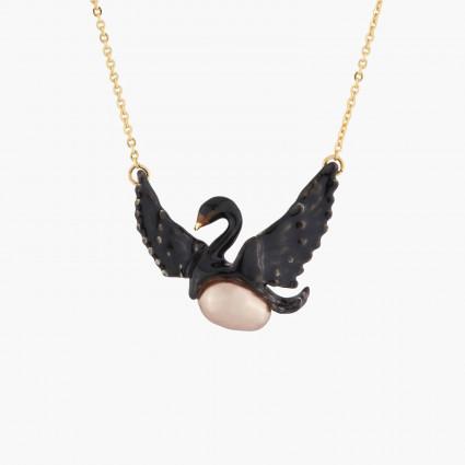 Colliers Fins Collier Fin Cygne Noir Volant Et Perle Baroque Grise
