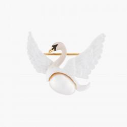 Broches Broche Cygne Blanc Volant Et Perle Baroque Blanche90,00€ AKCY501/1Les Néréides