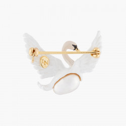 Broches Broche Cygne Blanc Volant Et Perle Baroque Blanche