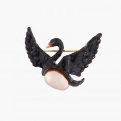 Broches Broche Cygne Noir Volant Et Perle Baroque Grise90,00€ AKCY501/2Les Néréides