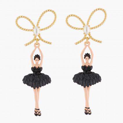 Boucles D'oreilles Pendantes Boucles D'oreilles Tiges Ballerine Noir Tutu Plume90,00€ AKDD108T/2Les Néréides