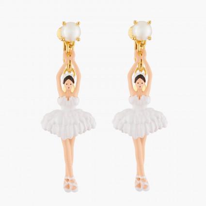 Boucles D'oreilles Clip Boucles D'oreilles Clips Ballerine Blanche Tutu Plume95,00€ AKDD115C/1Les Néréides