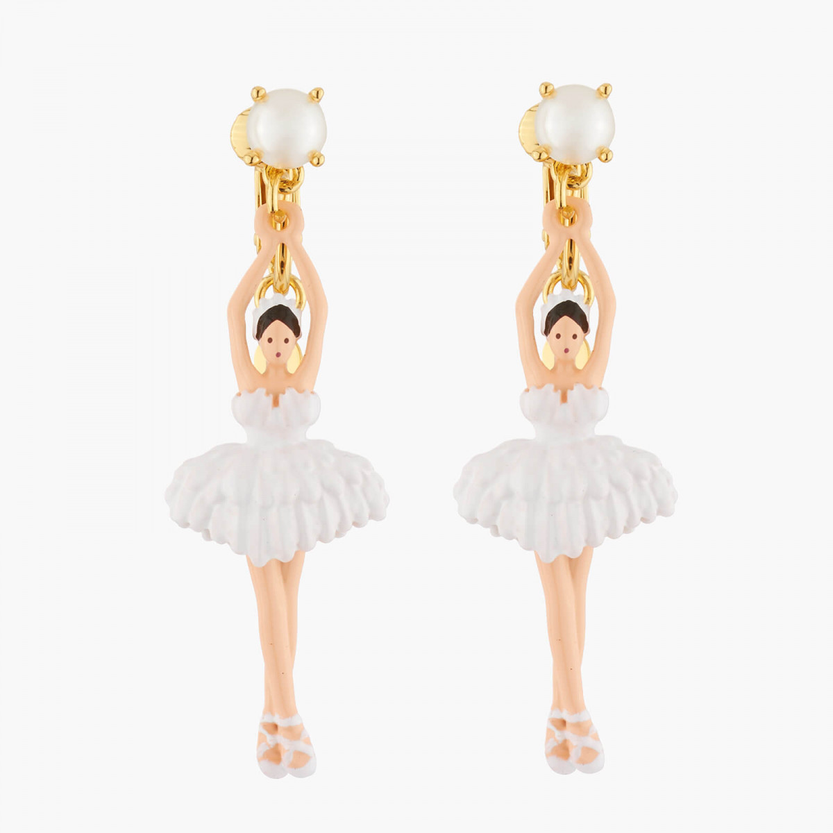 White Ballerina Pearl And Feather Tutu Clip On Earrings