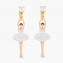 Boucles D'oreilles Pendantes Boucles D'oreilles Tiges Ballerine Blanche Tutu Plume95,00€ AKDD115T/1Les Néréides