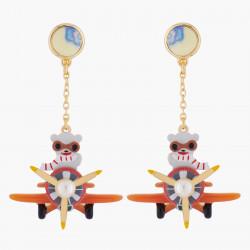 Boucles D'oreilles Originales Boucles D'oreilles Clips Ours Blanc Et Avion85,00€ AKTE103C/1N2 by Les Néréides
