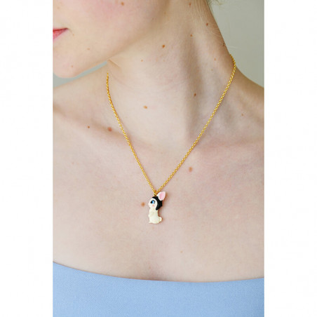 Snail, grey flower and blackberry necklace