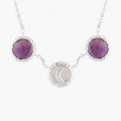 Colliers Fins Collier Pendentif Lune Et Améthyste Violette