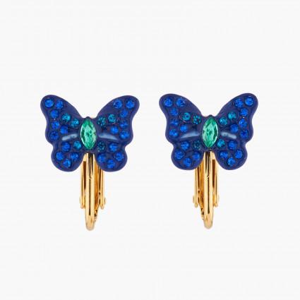 Boucles D'oreilles Clip Boucles D'oreilles Clips Papillon Ulysses Et Cristaux60,00€ AKEP105C/1Les Néréides