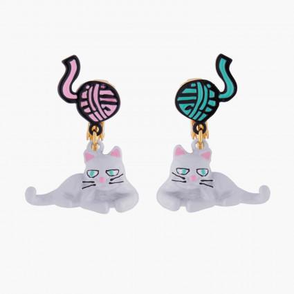 Boucles D'oreilles Boucles D'oreilles Clips Chat Persan Et Pelote De Laine75,00€ AKNA103C/1N2 by Les Néréides