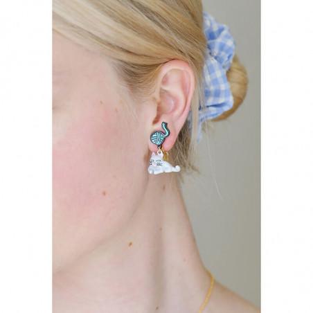 Boucles d'oreille pierre carrée bleu pétrole