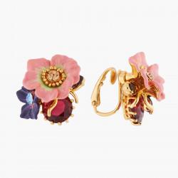 Boucles D'oreilles Clip Boucles D'oreilles Clips Fleur De Pommier Et Rose Sauvage Sur Pierre