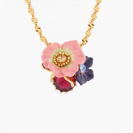 Colliers Pendentifs Collier Pendentif Fleur De Pommier Et Rose Sauvage Sur Pierre