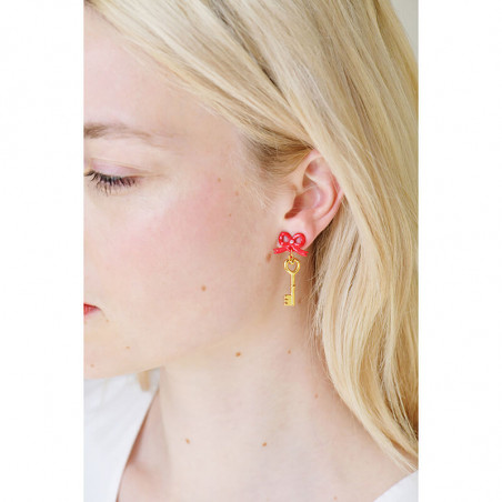 Toe-dancing ballerina paved with red stones earrings