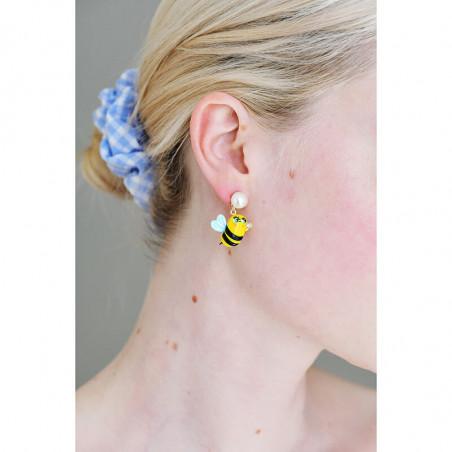 Orange blossom, orange and faceted glass earrings
