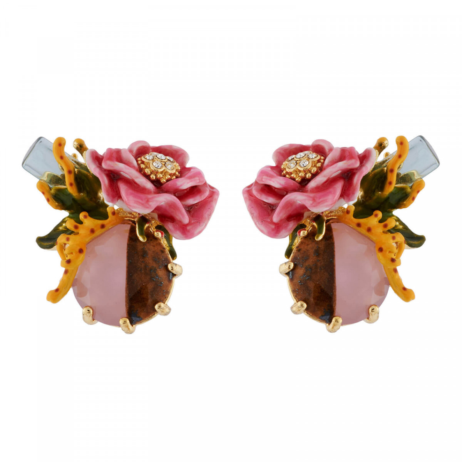 Boucles D'oreilles Clip Boucles D'oreilles Clip Cristal Et Fleur Rose Sur Pierre Bicolore