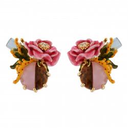 Boucles D'oreilles Tiges Boucles D'oreilles Cristal Et Fleur Rose Sur Pierre Bicolore