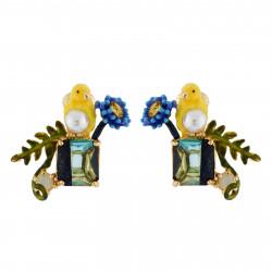Boucles D'oreilles Clip Boucles D'oreilles Clip Canari Et Fleur Sur Pierre Bicolore