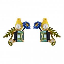 Boucles D'oreilles Tiges Boucles D'oreilles Canari Et Fleur Sur Pierre Bicolore